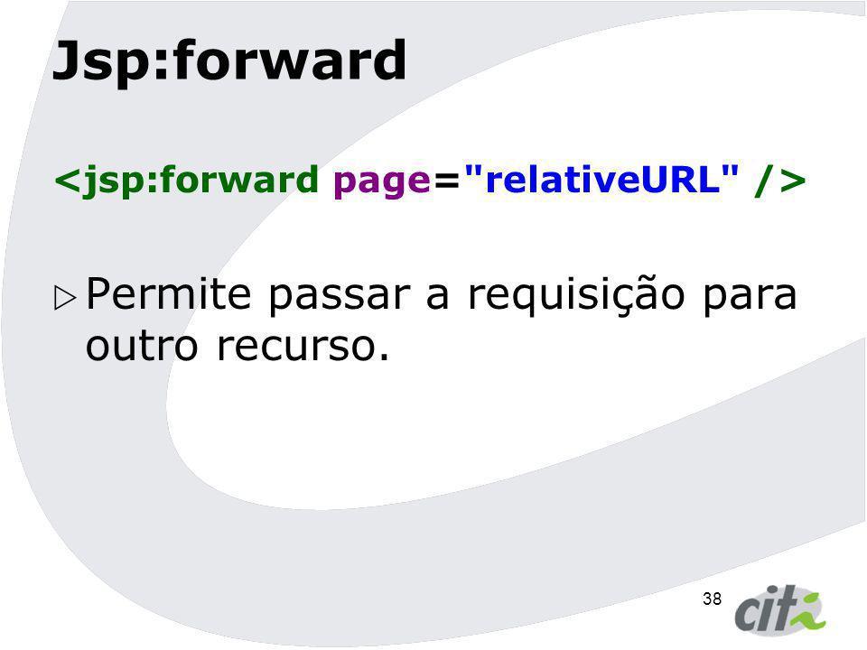 Jsp:forward Permite passar a requisição para outro recurso.