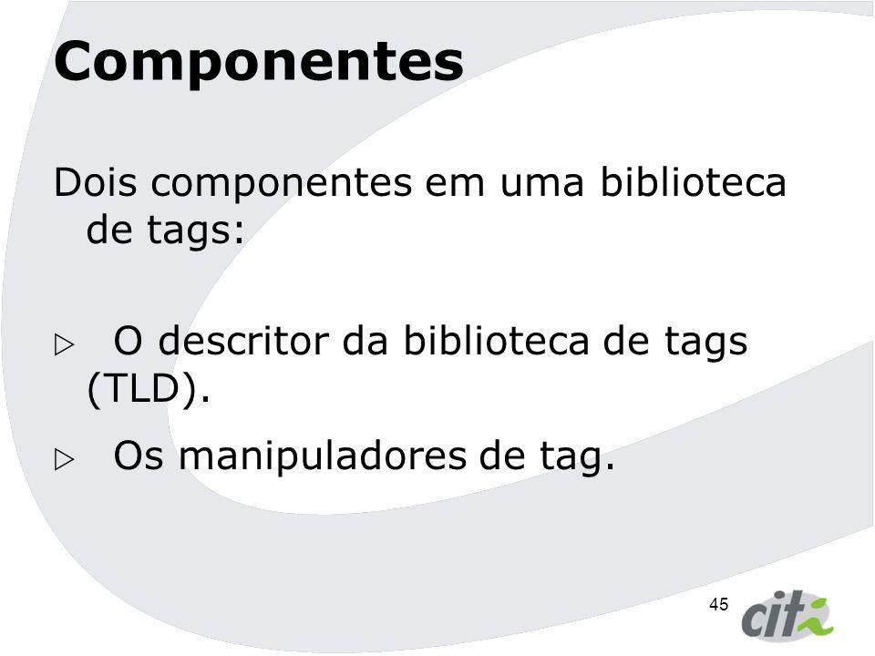 Componentes Dois componentes em uma biblioteca de tags: