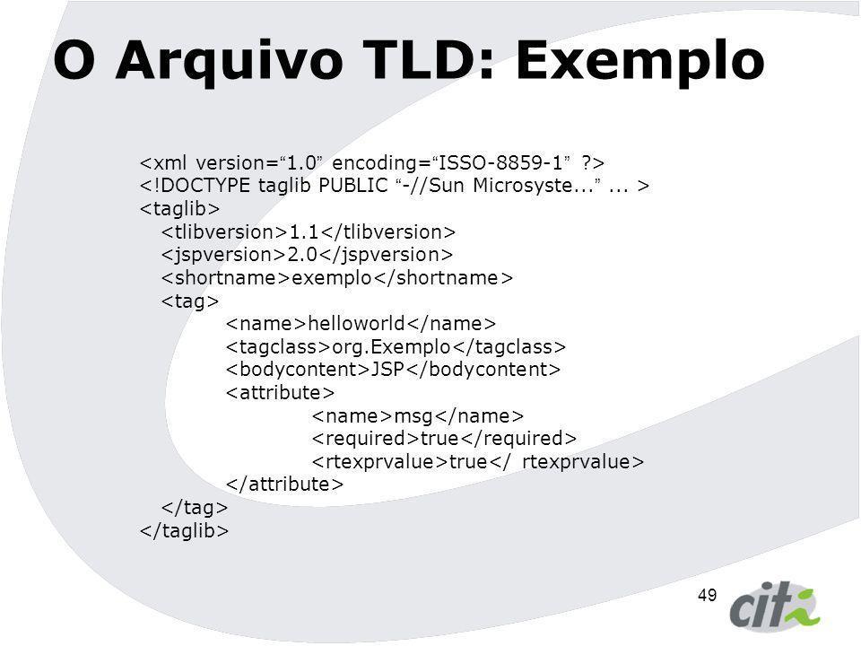 O Arquivo TLD: Exemplo <xml version= 1.0 encoding= ISSO-8859-1 > <!DOCTYPE taglib PUBLIC -//Sun Microsyste... ... >