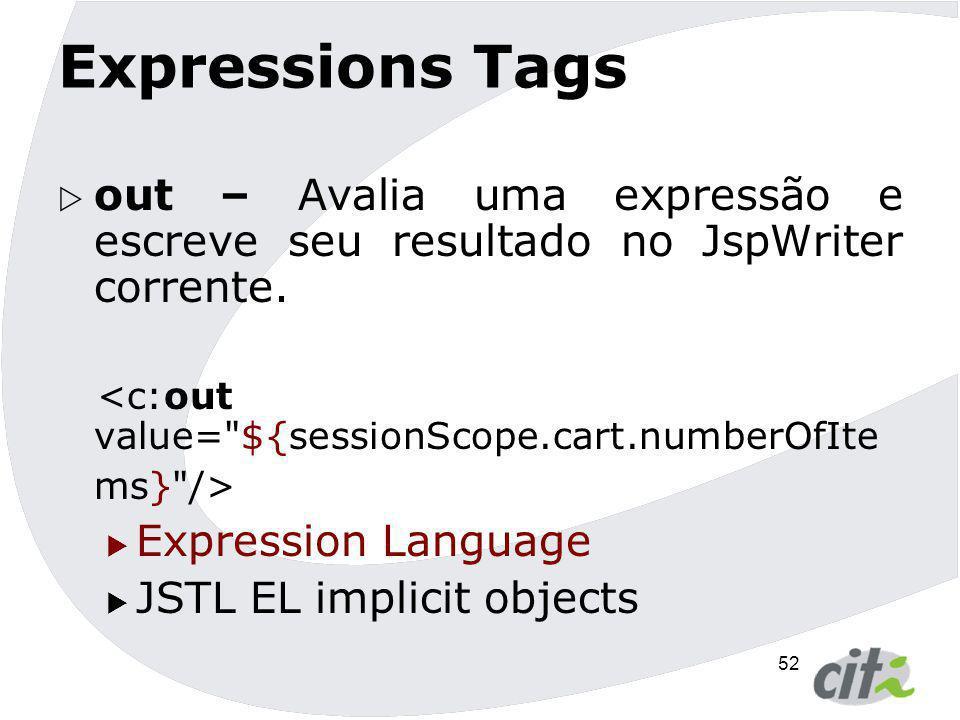 Expressions Tags out – Avalia uma expressão e escreve seu resultado no JspWriter corrente. <c:out value= ${sessionScope.cart.numberOfItems} />
