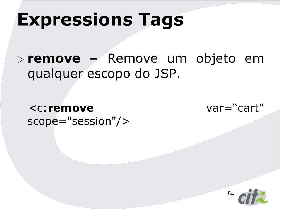 Expressions Tags remove – Remove um objeto em qualquer escopo do JSP.