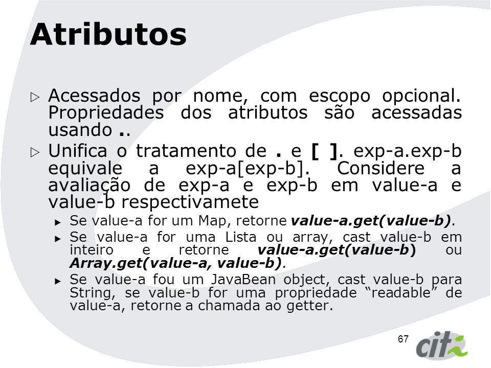 Atributos Acessados por nome, com escopo opcional. Propriedades dos atributos são acessadas usando ..