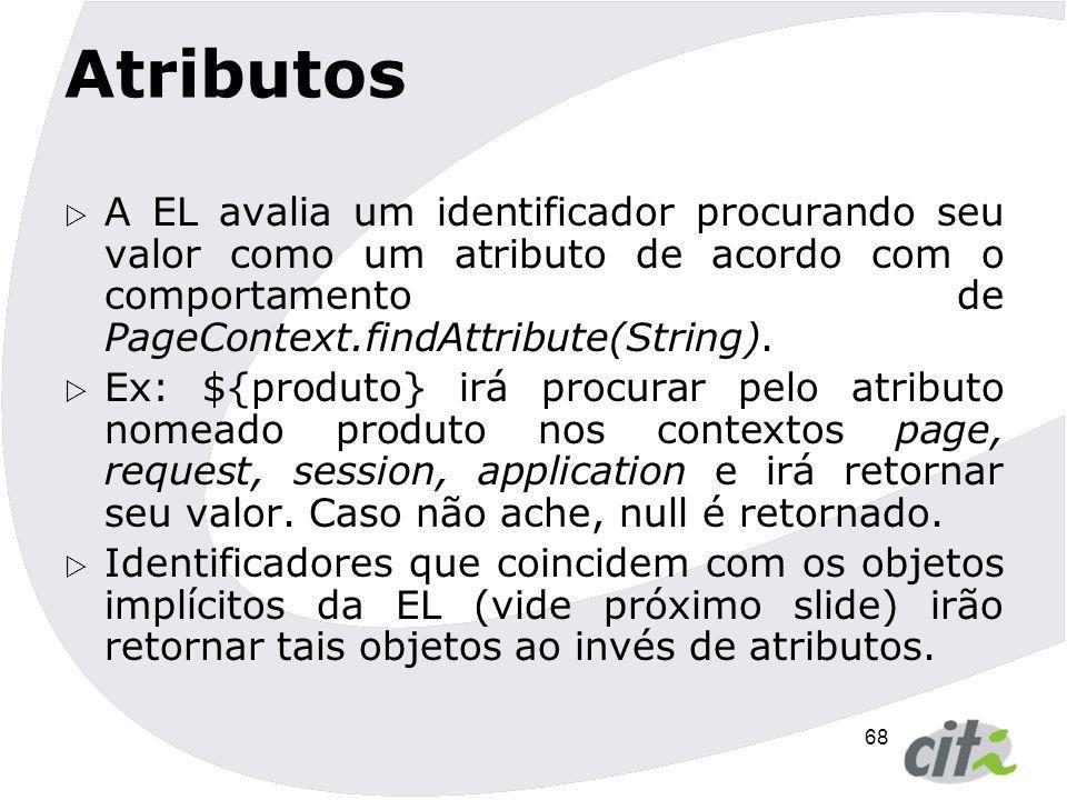 Atributos A EL avalia um identificador procurando seu valor como um atributo de acordo com o comportamento de PageContext.findAttribute(String).