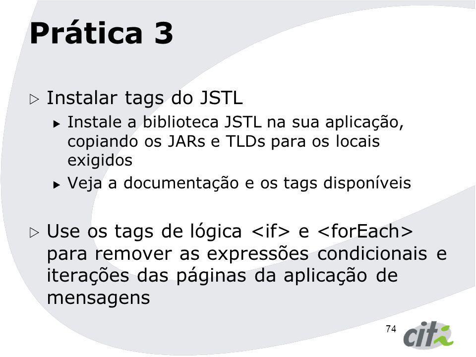 Prática 3 Instalar tags do JSTL