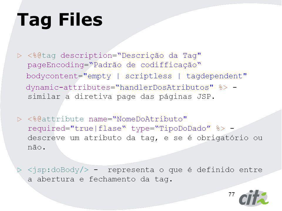 Tag Files <%@tag description= Descrição da Tag pageEncoding= Padrão de codifficação bodycontent= empty | scriptless | tagdependent