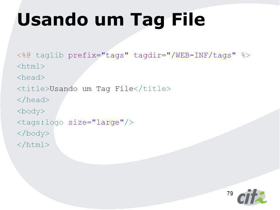 Usando um Tag File <%@ taglib prefix= tags tagdir= /WEB-INF/tags %> <html> <head> <title>Usando um Tag File</title>