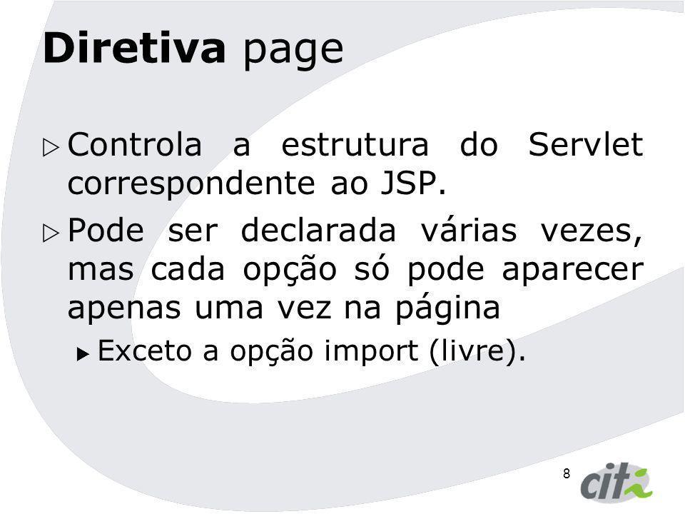 Diretiva page Controla a estrutura do Servlet correspondente ao JSP.