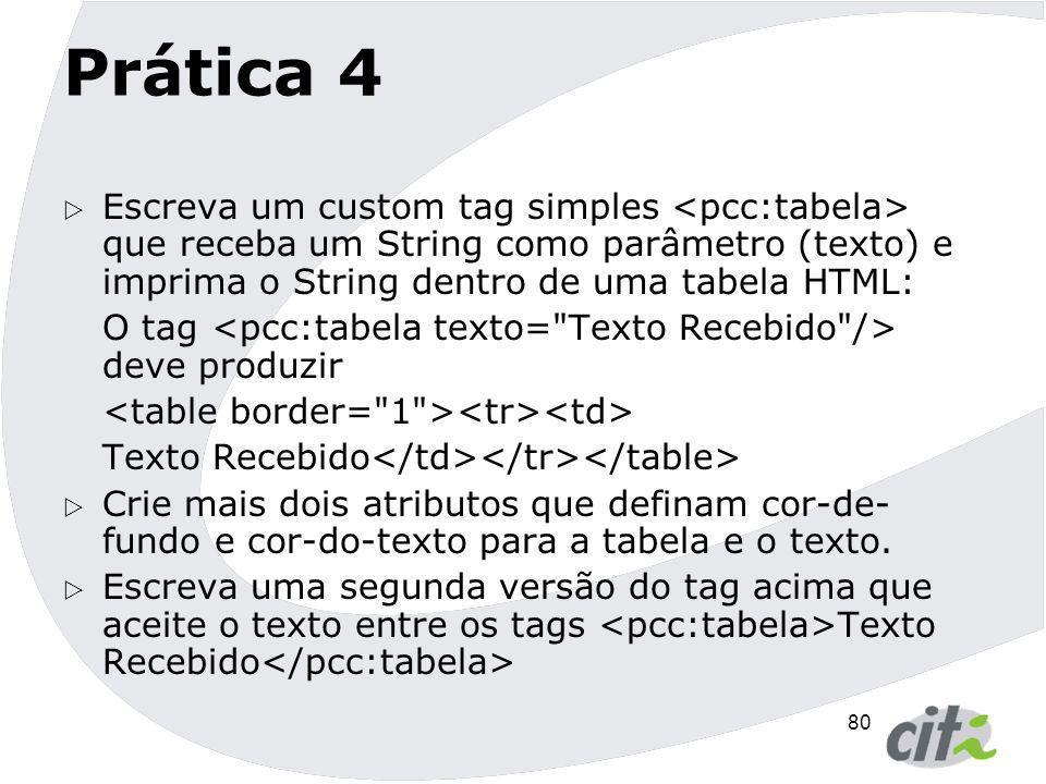 Prática 4 Escreva um custom tag simples <pcc:tabela> que receba um String como parâmetro (texto) e imprima o String dentro de uma tabela HTML: