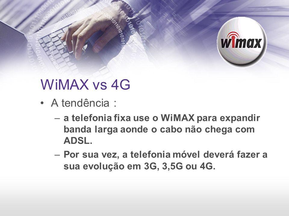 WiMAX vs 4G A tendência : a telefonia fixa use o WiMAX para expandir banda larga aonde o cabo não chega com ADSL.