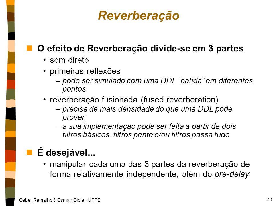 Reverberação O efeito de Reverberação divide-se em 3 partes
