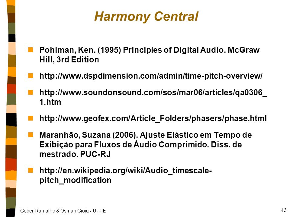 Harmony Central Pohlman, Ken. (1995) Principles of Digital Audio. McGraw Hill, 3rd Edition. http://www.dspdimension.com/admin/time-pitch-overview/