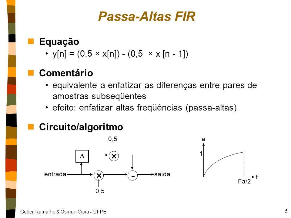 Passa-Altas FIR × - Equação Comentário Circuito/algoritmo