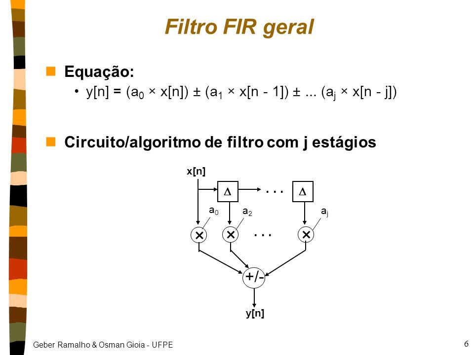 Filtro FIR geral × Equação: