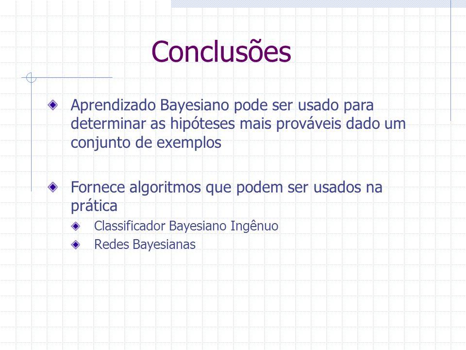 Conclusões Aprendizado Bayesiano pode ser usado para determinar as hipóteses mais prováveis dado um conjunto de exemplos.