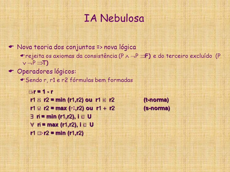 IA Nebulosa Nova teoria dos conjuntos => nova lógica