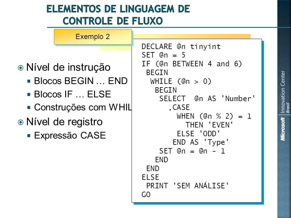 Elementos de linguagem de controle de fluxo