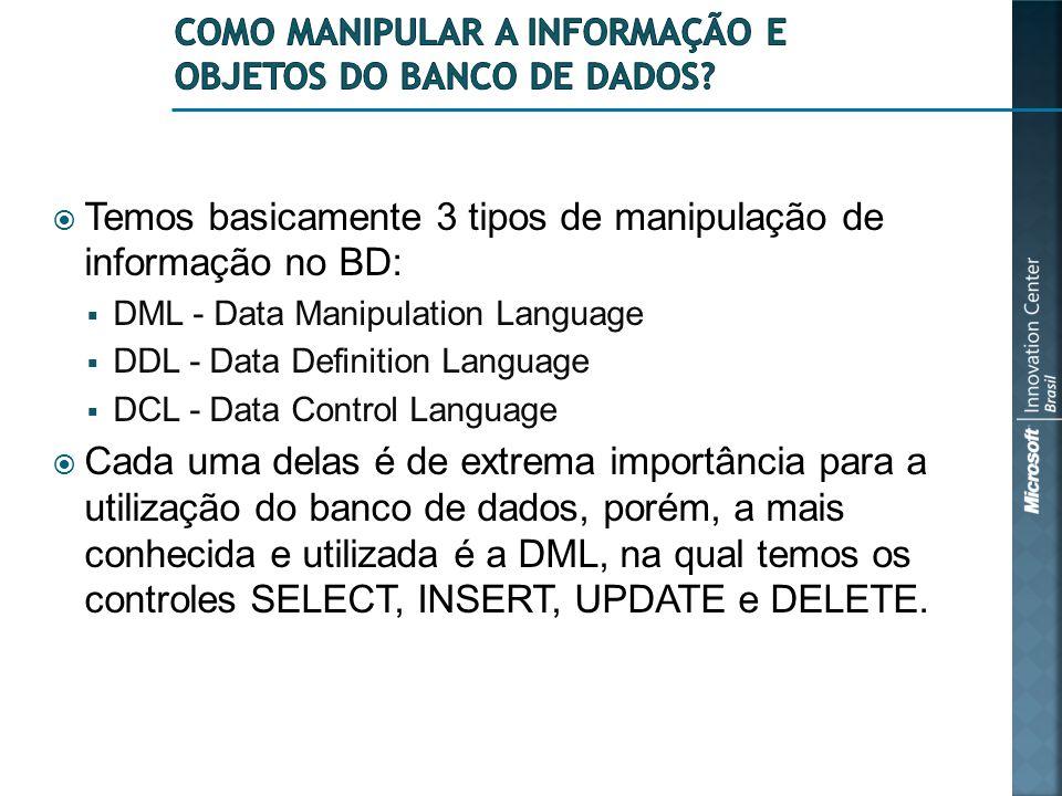 Como manipular a informação e objetos do banco de dados
