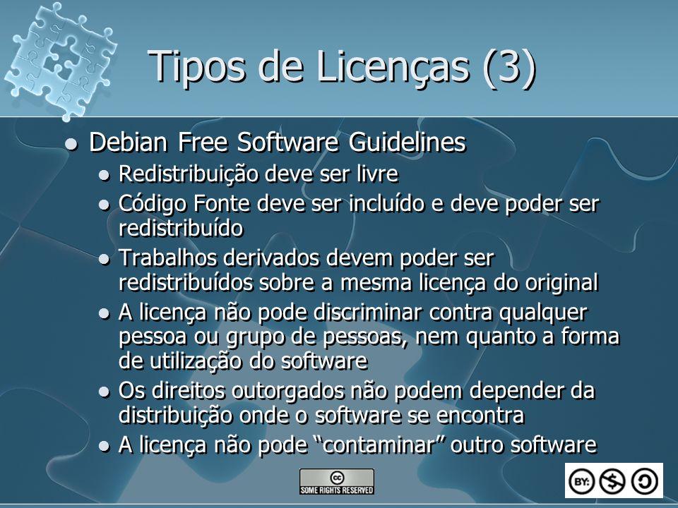 Tipos de Licenças (3) Debian Free Software Guidelines