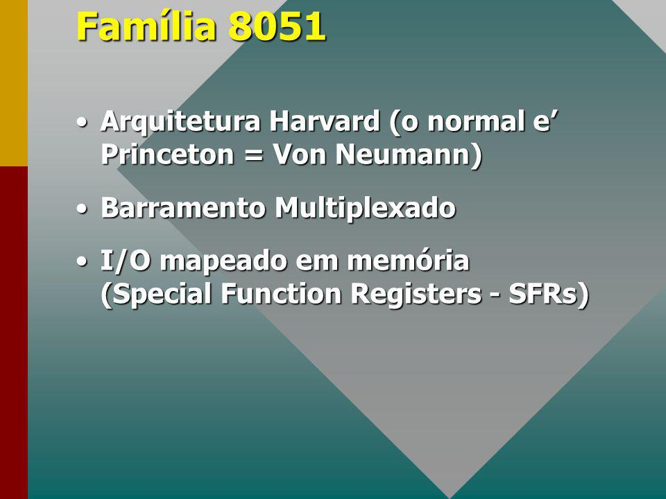 Família 8051 Arquitetura Harvard (o normal e' Princeton = Von Neumann)