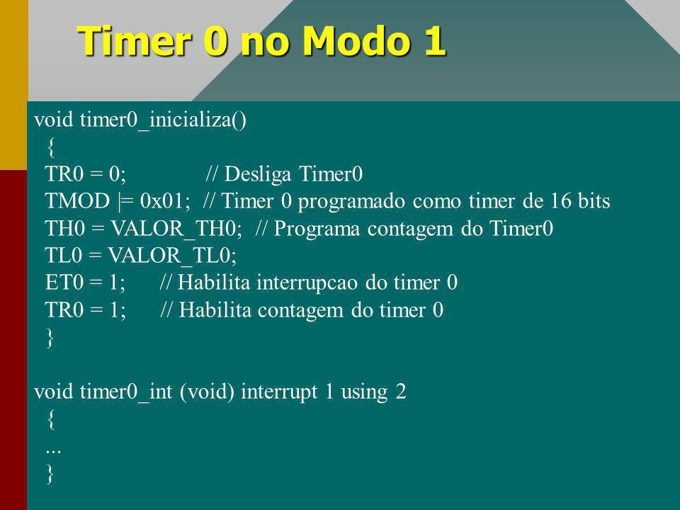 Timer 0 no Modo 1 #define FrClk 12000000 void timer0_inicializa() {