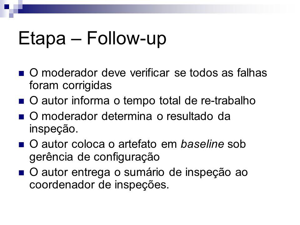 Etapa – Follow-up O moderador deve verificar se todos as falhas foram corrigidas. O autor informa o tempo total de re-trabalho.