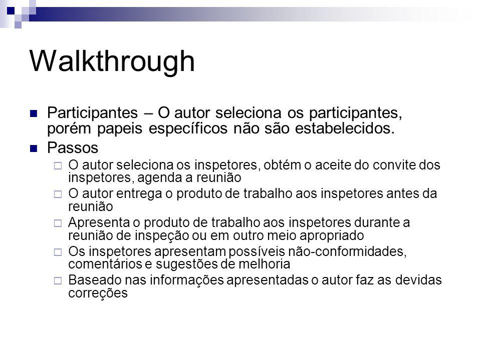 Walkthrough Participantes – O autor seleciona os participantes, porém papeis específicos não são estabelecidos.