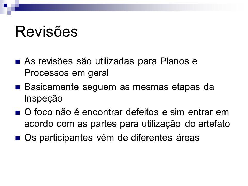 Revisões As revisões são utilizadas para Planos e Processos em geral