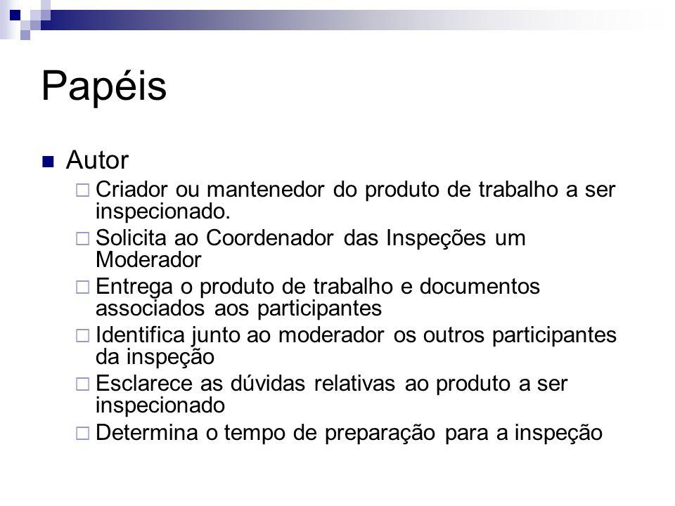 Papéis Autor. Criador ou mantenedor do produto de trabalho a ser inspecionado. Solicita ao Coordenador das Inspeções um Moderador.