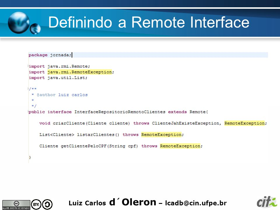 Definindo a Remote Interface