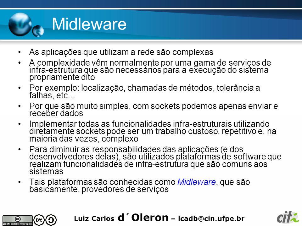 Midleware As aplicações que utilizam a rede são complexas