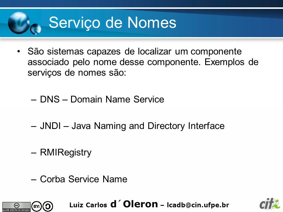 Serviço de Nomes São sistemas capazes de localizar um componente associado pelo nome desse componente. Exemplos de serviços de nomes são: