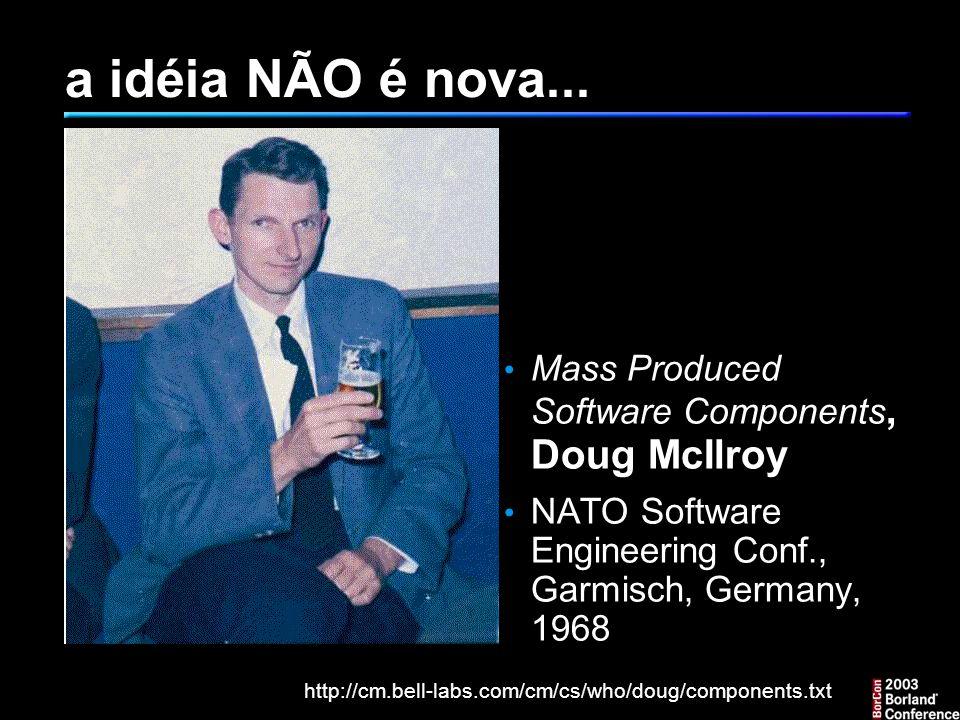 a idéia NÃO é nova... Mass Produced Software Components, Doug McIlroy