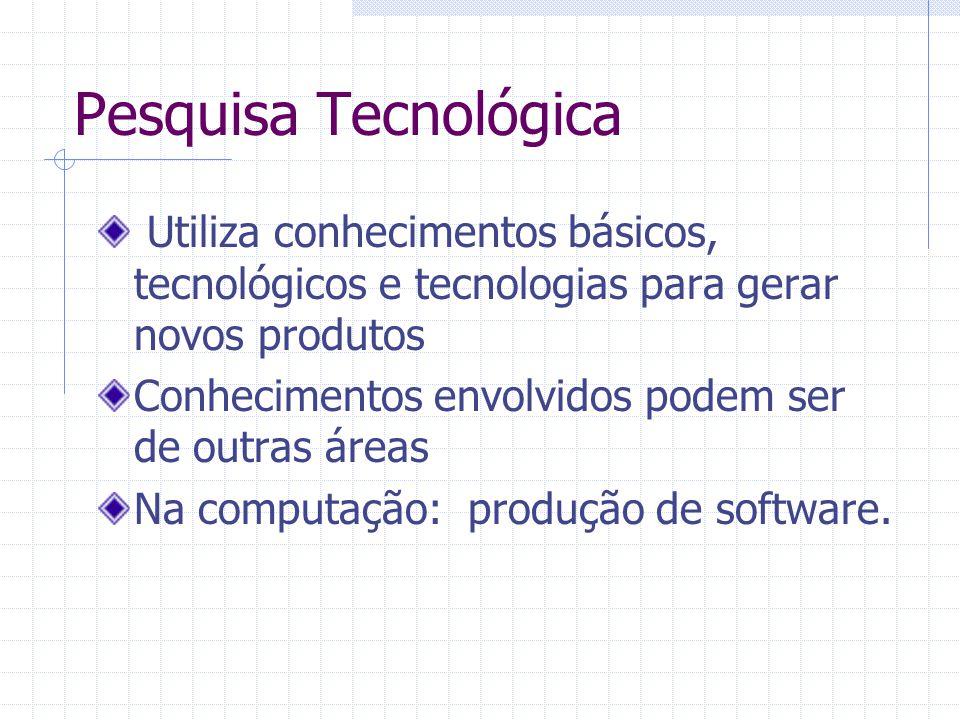 Pesquisa Tecnológica Utiliza conhecimentos básicos, tecnológicos e tecnologias para gerar novos produtos.
