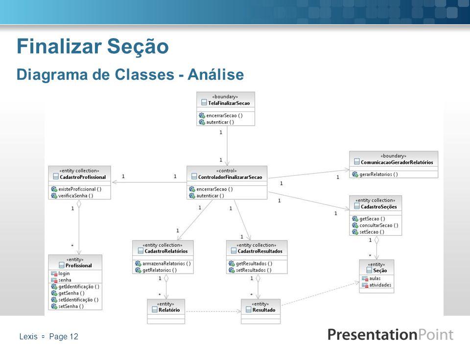 Finalizar Seção Diagrama de Classes - Análise