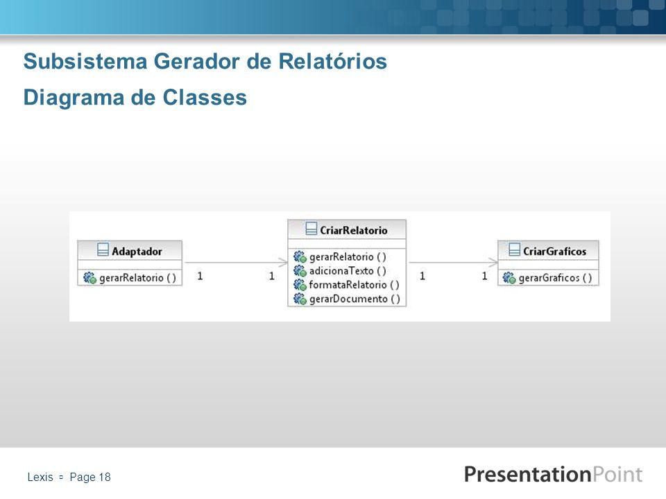Subsistema Gerador de Relatórios Diagrama de Classes