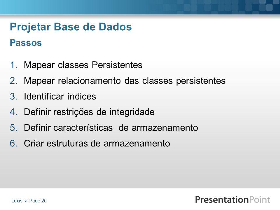 Projetar Base de Dados Passos