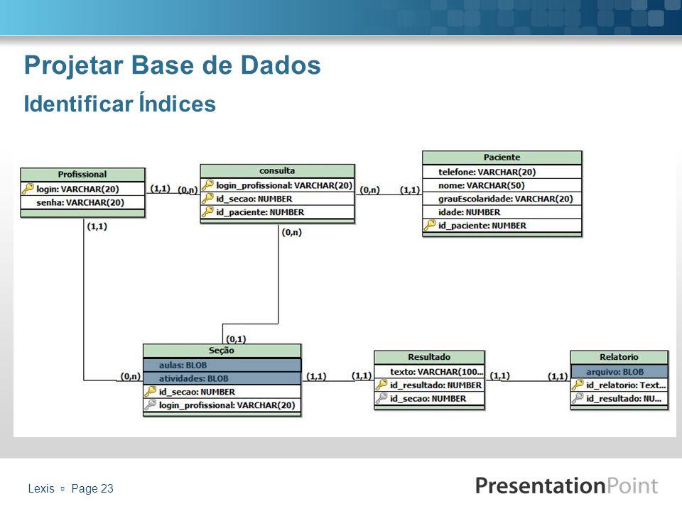 Projetar Base de Dados Identificar Índices