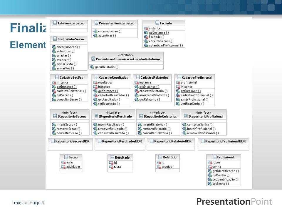 Finalizar Seção Elementos de Projeto