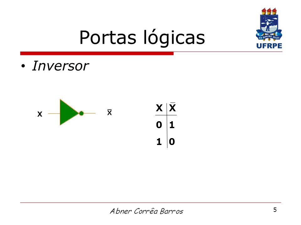 Portas lógicas Inversor X X 0 1 1 0 X