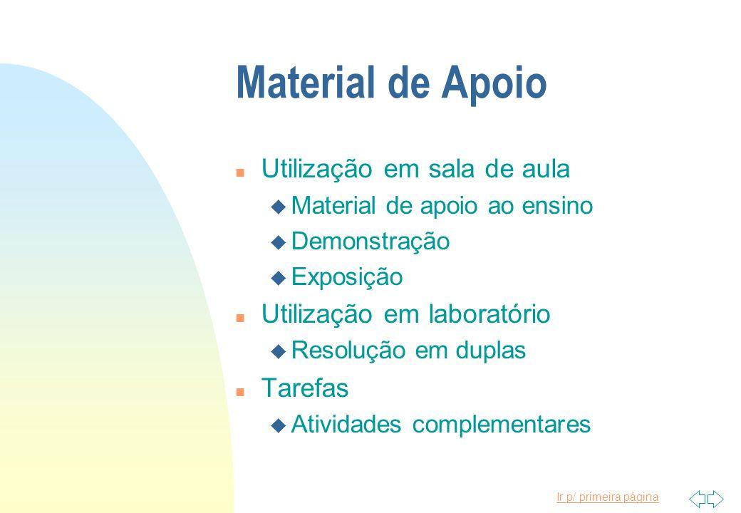 Material de Apoio Utilização em sala de aula Utilização em laboratório