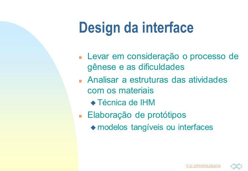 Design da interface Levar em consideração o processo de gênese e as dificuldades. Analisar a estruturas das atividades com os materiais.