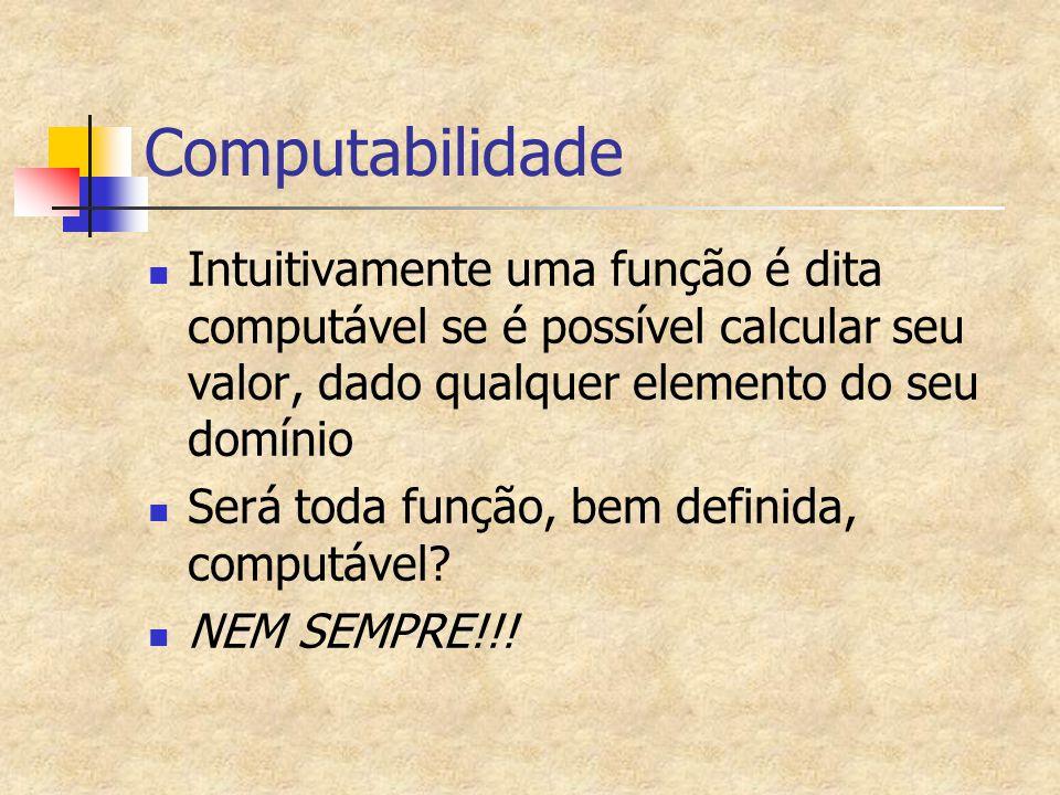 Computabilidade Intuitivamente uma função é dita computável se é possível calcular seu valor, dado qualquer elemento do seu domínio.