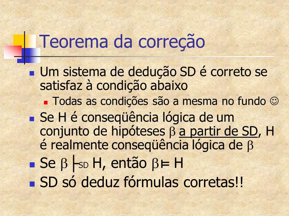 Teorema da correção Se b├SD H, então b⊨ H