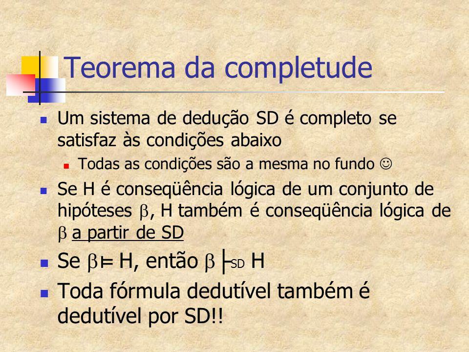 Teorema da completude Se b⊨ H, então b├SD H