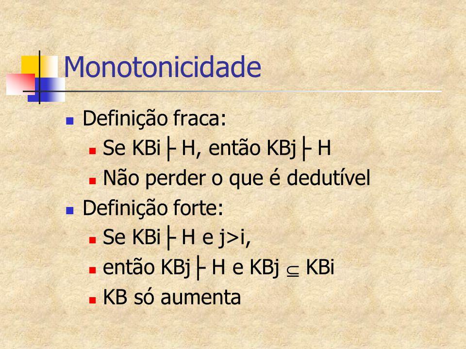 Monotonicidade Definição fraca: Se KBi├ H, então KBj├ H