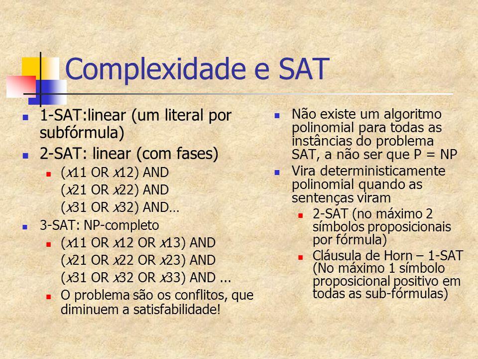 Complexidade e SAT 1-SAT:linear (um literal por subfórmula)
