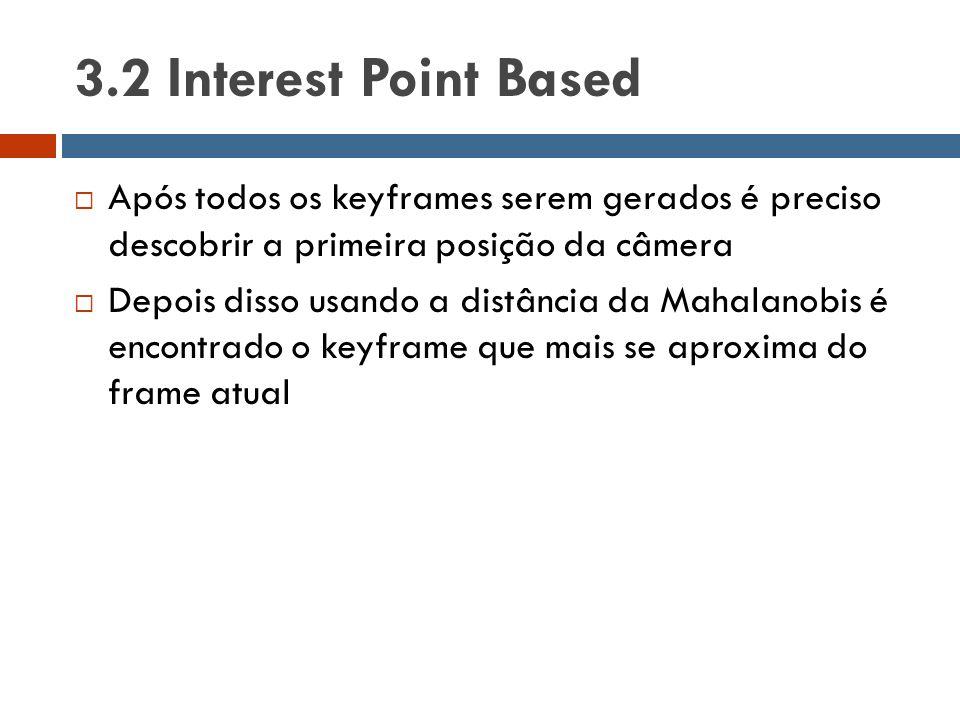 3.2 Interest Point Based Após todos os keyframes serem gerados é preciso descobrir a primeira posição da câmera.
