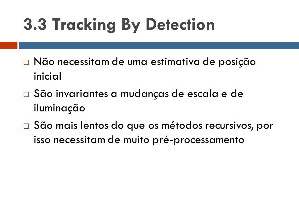 3.3 Tracking By Detection Não necessitam de uma estimativa de posição inicial. São invariantes a mudanças de escala e de iluminação.