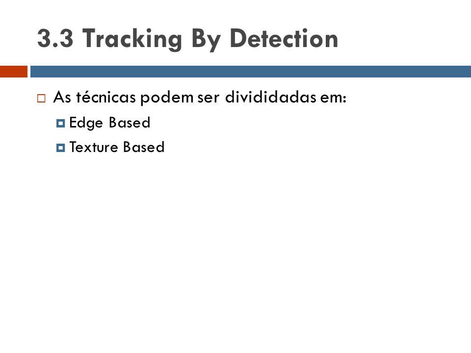 3.3 Tracking By Detection As técnicas podem ser divididadas em:
