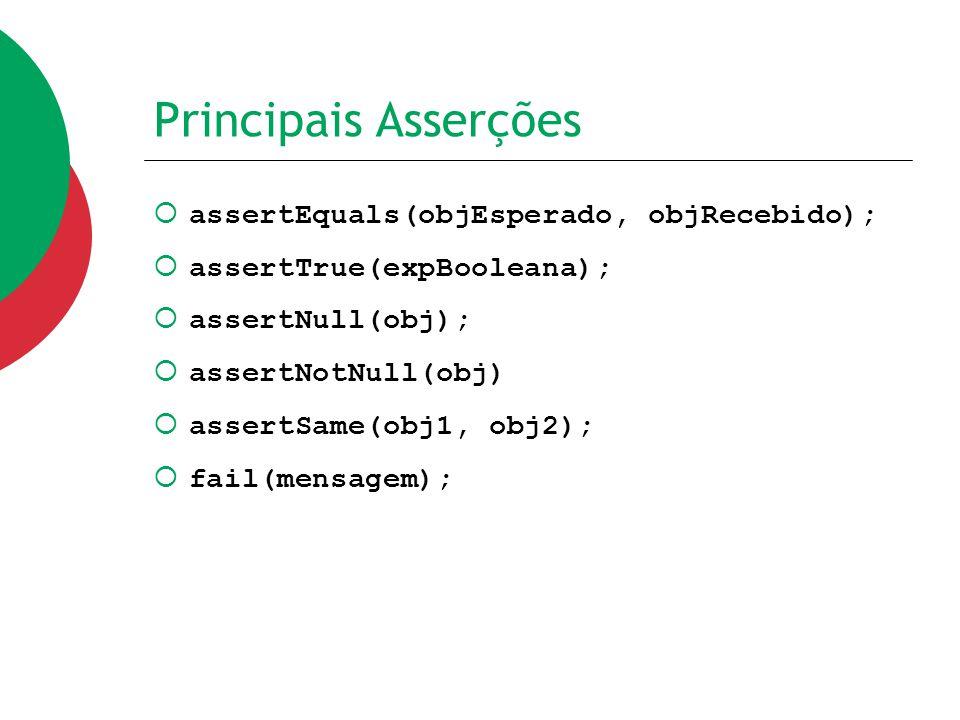 Principais Asserções assertEquals(objEsperado, objRecebido);
